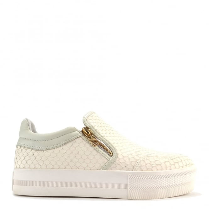 Ash Footwear Jordy Off White Python Print Slip On Trainer
