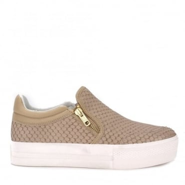 Jordy Taupe Python Embossed Slip On Trainer