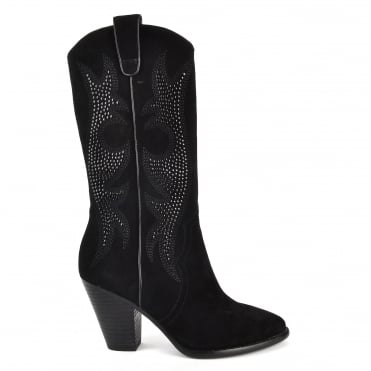 Joyce Black Suede Studded Heeled Boot