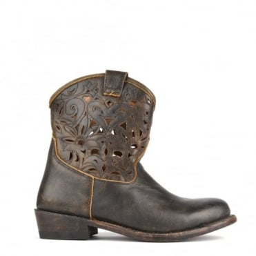 Julian Black Cut-Out Cowboy Boot