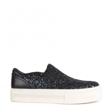 Jungle Midnight 'Blue' and Black Glitter Slip On Trainer