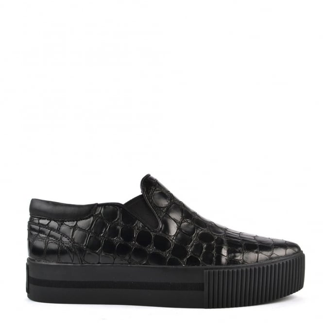 Ash Footwear Karma Black Embossed Croc Slip On Trainer