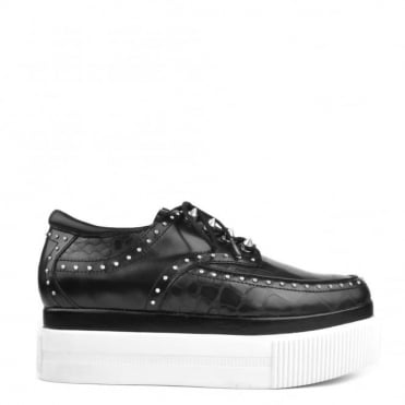 Kash Black Leather Studded Platform Shoe