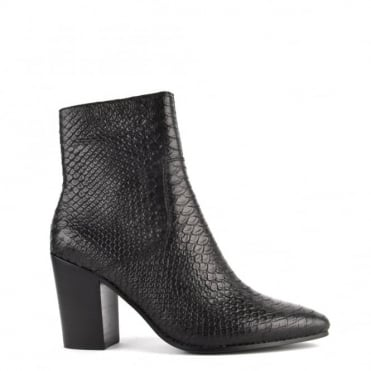 Kate Black Python Textured Heeled Boot
