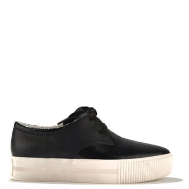 Keanu Black Leather Lace Up Trainer