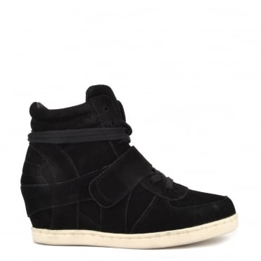 Kids' Babe Black Suede Wedge Hi-Top Trainer