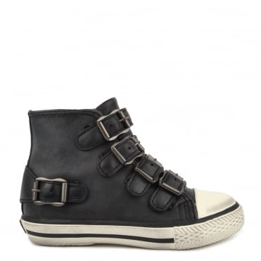 Kids' Fanta Black Leather Buckle Trainer