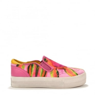 Kids' Juno Bis Rose Yellow Canvas Slip On Trainer