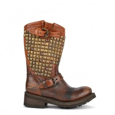 Kids' Tornado Tan Studded Biker Boot