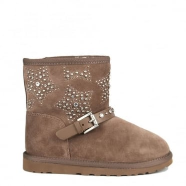 Kids' Yoyo Taupe Fleece Lined Studded Boot