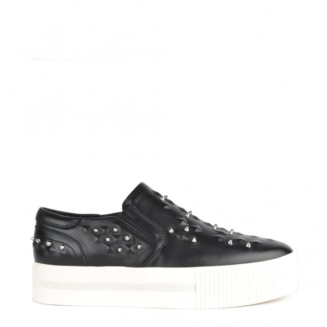 Ash Footwear Kiff Black Leather Studded Slip On Trainer