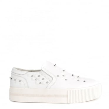 Kiff White Leather Studded Slip On Trainer