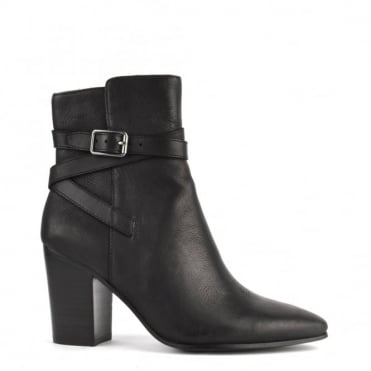 Kim Black Leather Heeled Boot