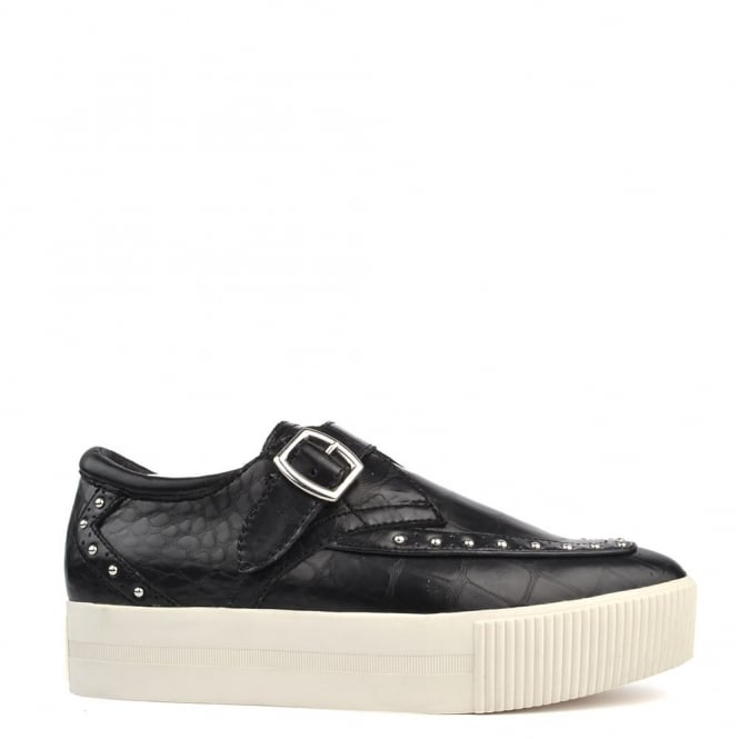 Ash Footwear Kony Bis Black Leather Studded Creeper
