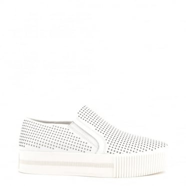 Kurt White Laser Cut Slip On Trainer
