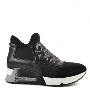 Laser Goth Black Neoprene and Leather Trainer