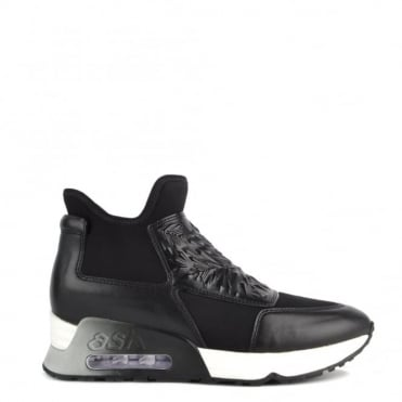 Lazer Bis Black Leather and Neoprene Trainer