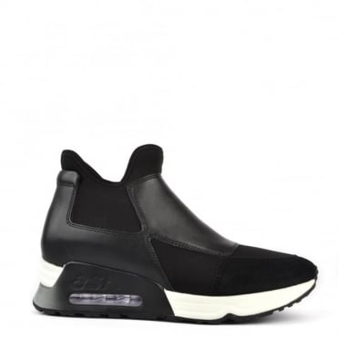 Lazer Black Leather And Neoprene Trainer