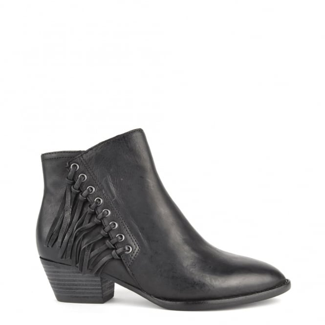 Ash Footwear Lenny Black Leather Fringed Boot