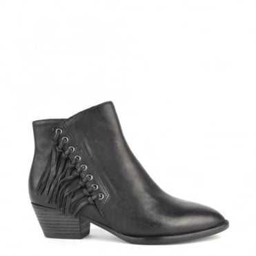 Lenny Black Leather Fringed Boot