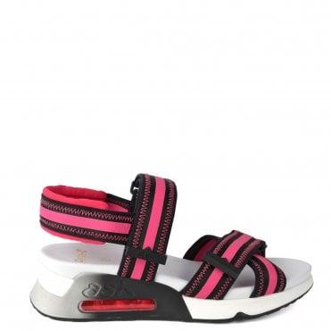 Lewis Black Leather & Pink Trainer Sandal