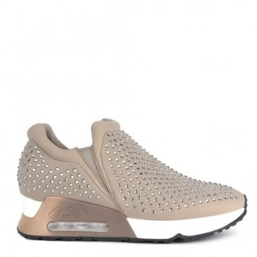 Lifting Taupe Neoprene and Gemstone Trainer