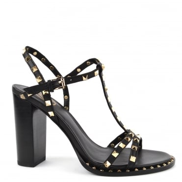 Lips Black Leather Studded Heeled Sandal