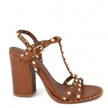 c3d3d438f709 Lips Brown Leather Studded Heeled Sandal · Ash Footwear ...