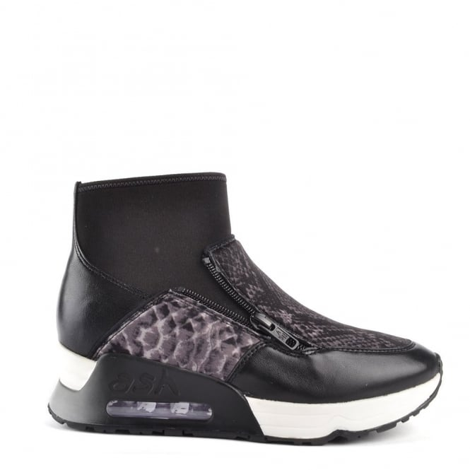 Ash Footwear Liu Bis Black and Python Trainer