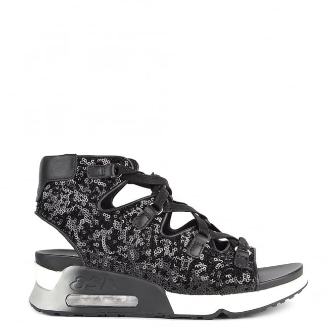 Ash Footwear Liv Black Sequinned Lace Up Trainer