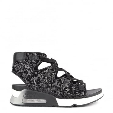 Liv Black Sequinned Lace Up Trainer