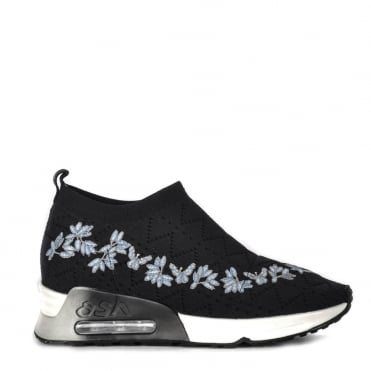 Lolita Knit Black and Floral Trainer