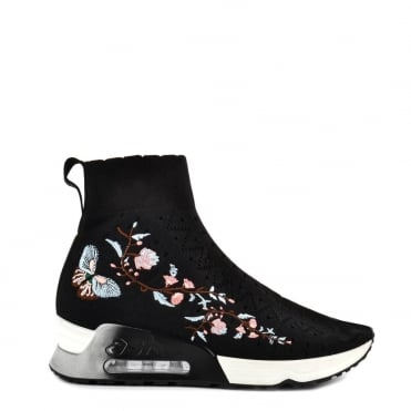 Lotus Black Knit and Floral Trainer