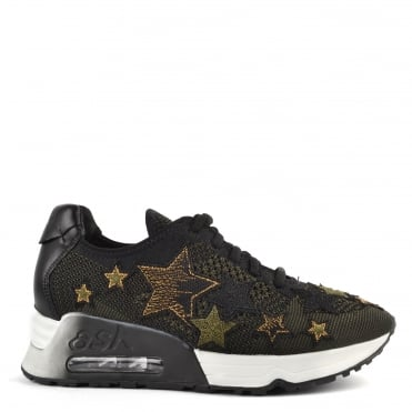 Lucky Star Army Knit With Star Appliqué Trainer