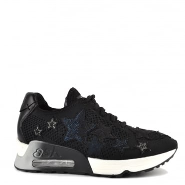 Lucky Star Black Knit With Star Appliqué Trainer