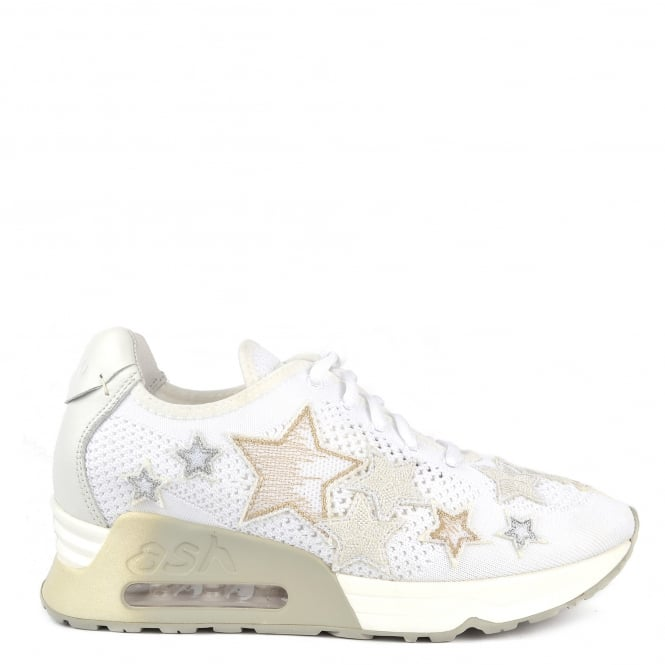 Ash Footwear Lucky Star White Knit With Star Appliqué Trainer