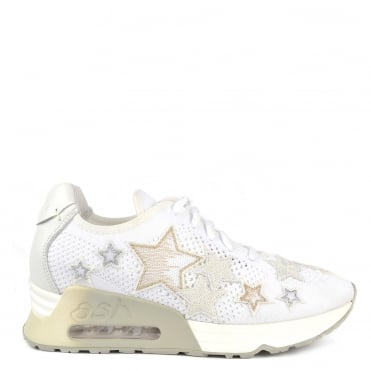 Lucky Star White Knit With Star Appliqué Trainer