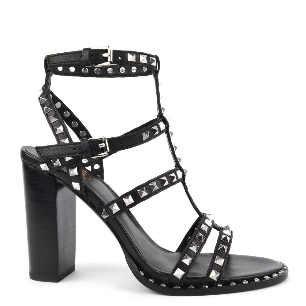 f8544413f86 Ash Footwear Lucy Black Studded Heeled Sandal