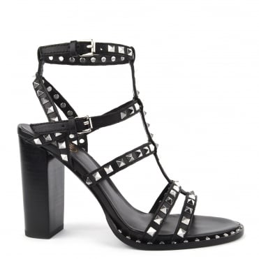 Lucy Black Studded Heeled Sandal