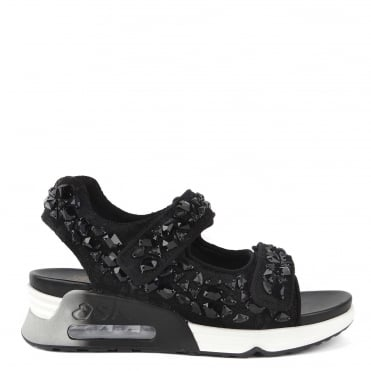 Lullastones Black Satin & Lace Trainer