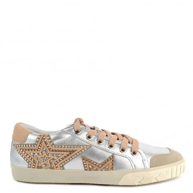 Ash Footwear Magic Silver and Beige Pony Hair Star Trainer