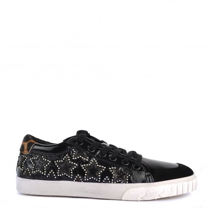 Ash Footwear Majestic Bis Black and Leopard Print Star Trainer