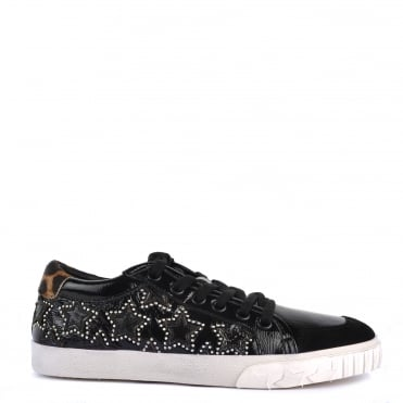 Majestic Bis Black and Leopard Print Star Trainer