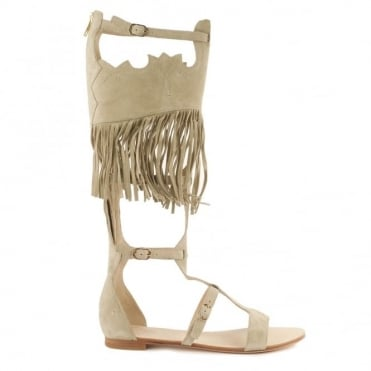 Margot Seta 'Beige' Fringed Sandal