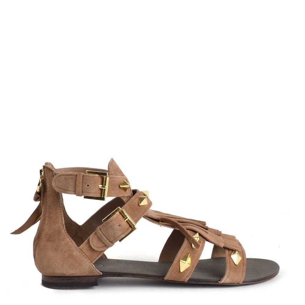 c95435f64 Ash Footwear Mascara Taupe Fringe Sandal