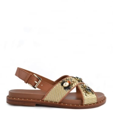Maya Natural Leather Cross Over Sandal