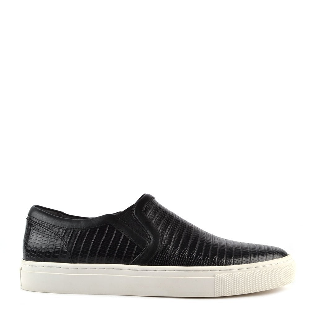 meet nice cheap retail prices Mens' Lennon Black Embossed Leather Slip On Trainer