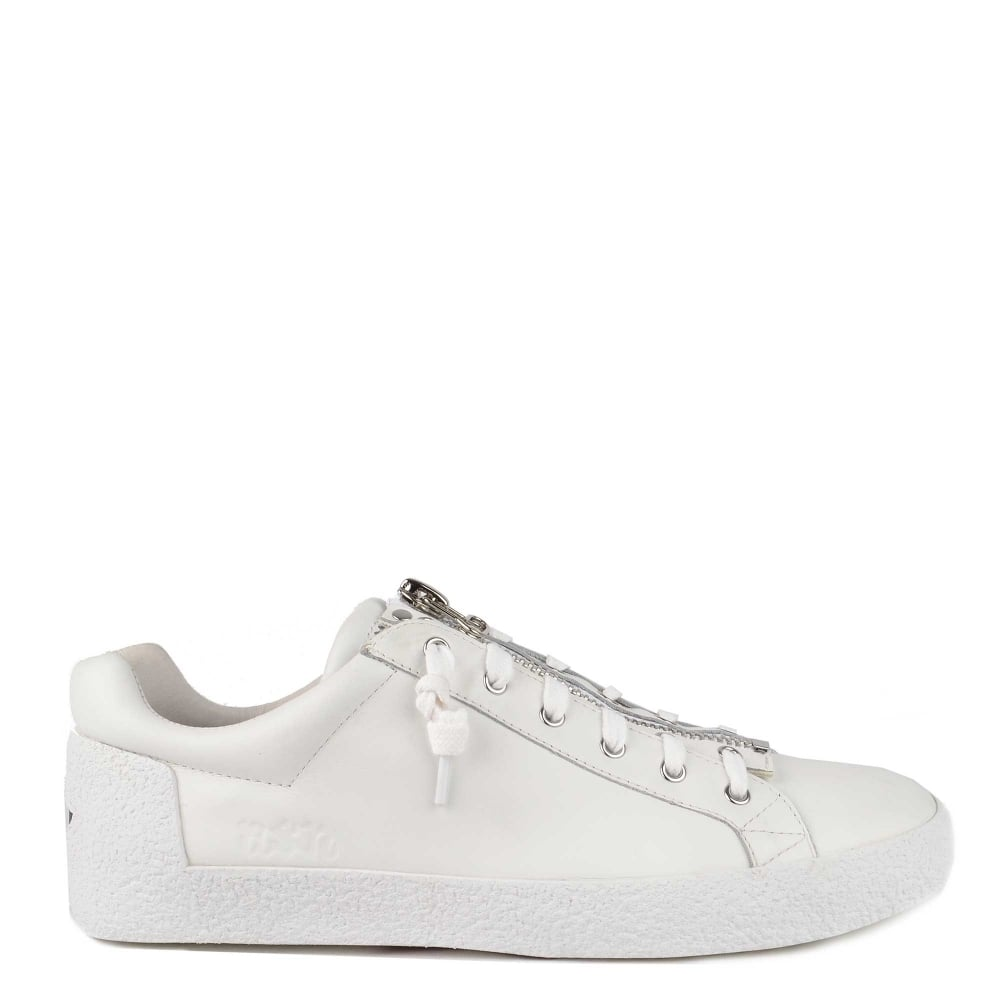 Mens' Ash Nilo White Leather With Zip