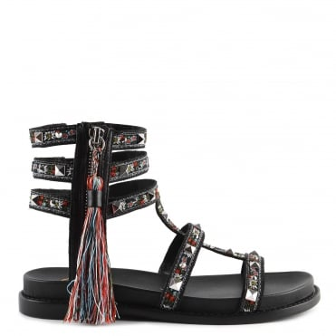 Miracle Black Leather Tassel Sandal