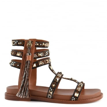 Miracle Brown Leather Tassel Sandal